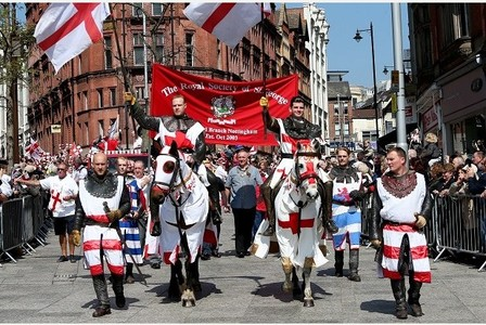IN PICTURE: The St George's Day parade makes its way into Nottingham's Old Market Square. STORY: LEAD: SPECIAL EVENT THURSDAY 23rd APRIL 2015 - ST GEORGE'S DAY PARADE The 2015 St George's Day Parade and Celebration is to take place on Thursday 23rd April 2015 the parade takes place between 10.00 and 13.00 and takes the following route: •Forest Recreation Ground • Mansfield Road • Milton Street • Upper Parliament Street • King Street / Queen Street • Long Row • Old Market Square If possible please keep this route clear of any road works. Emergency Contact Details: Mark Lethbridge Senior Highway Officer Telephone: 0115 8765766 Jamaya White Highway Network Management Nottingham City Council Booked by Jemma, 07890030318 PHOTOGRAPHER: JOSEPH RAYNOR